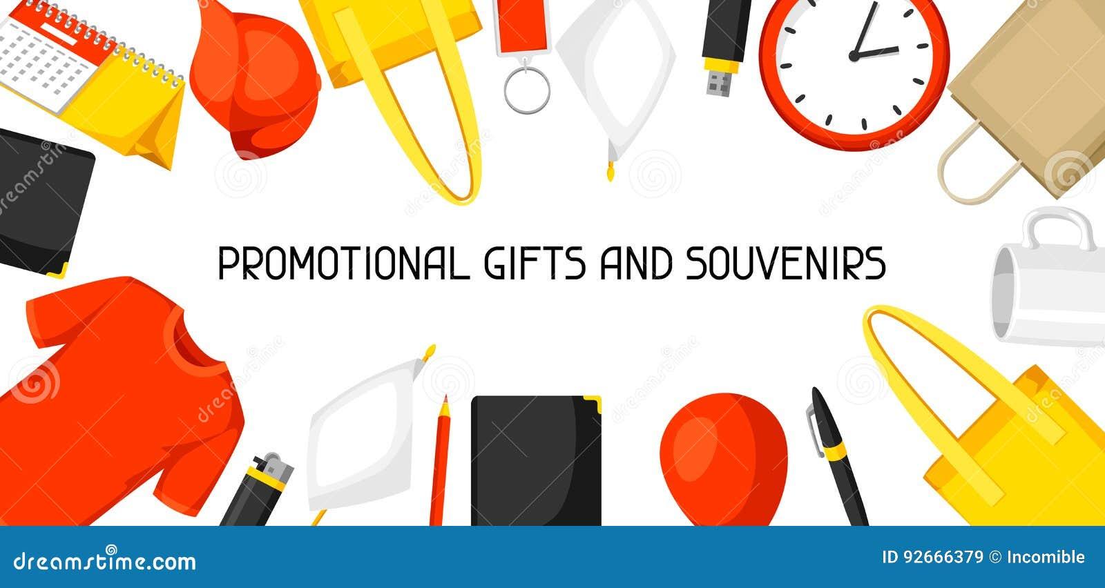 Werbungshintergrund mit fördernden Geschenken und Andenken