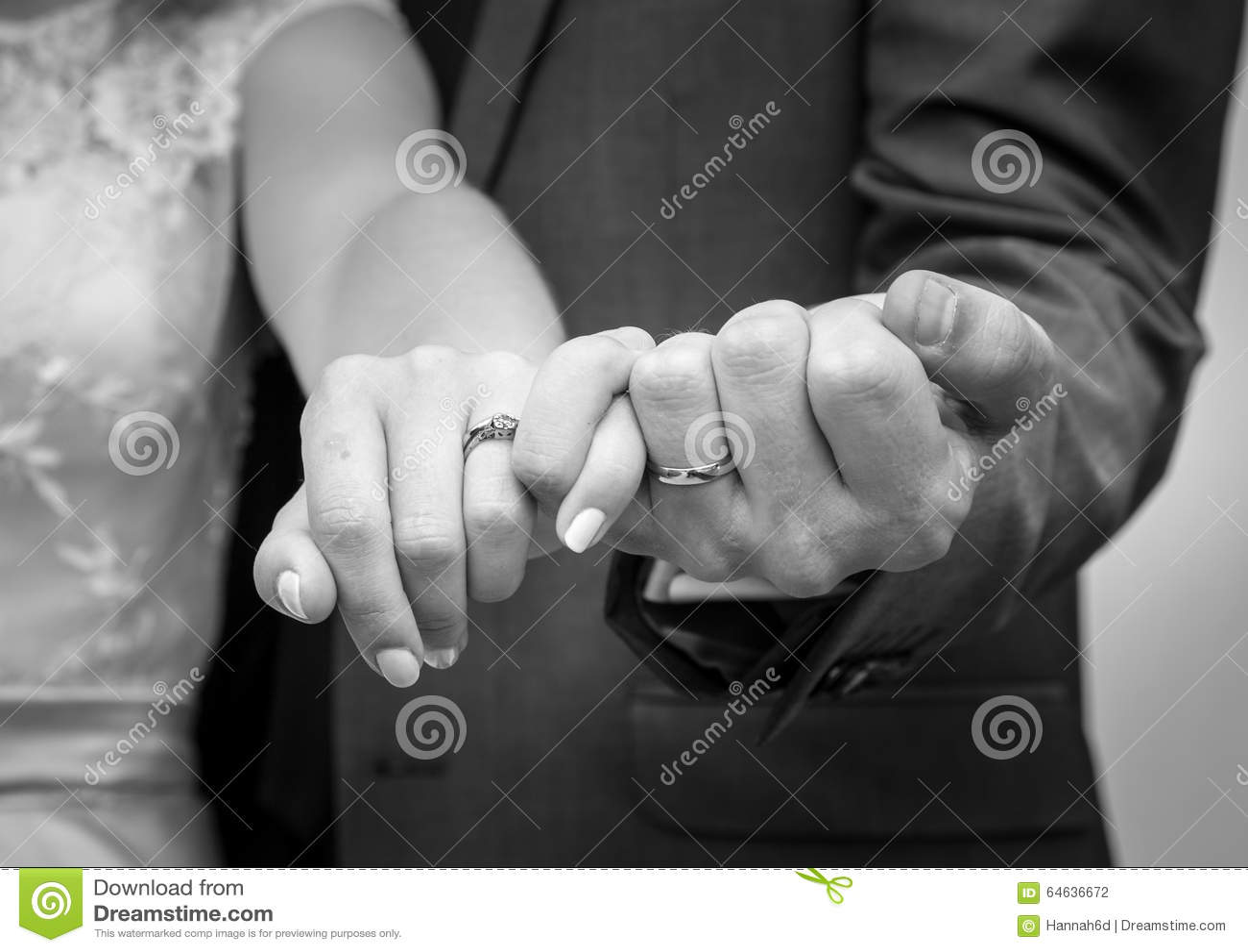Newly Weds Show Off Wedding Rings Stock Photo Image