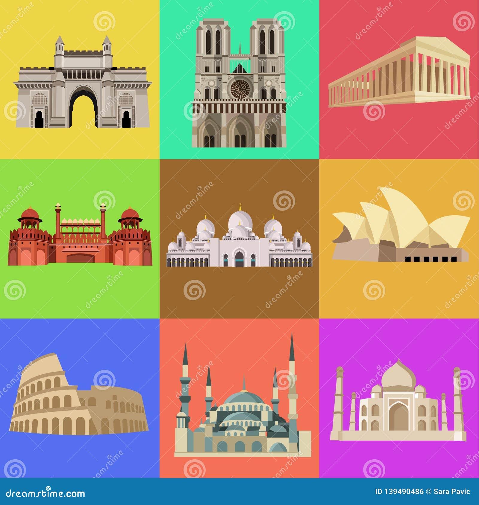 Wereld beroemdste architectuur, kerken, gebouwen