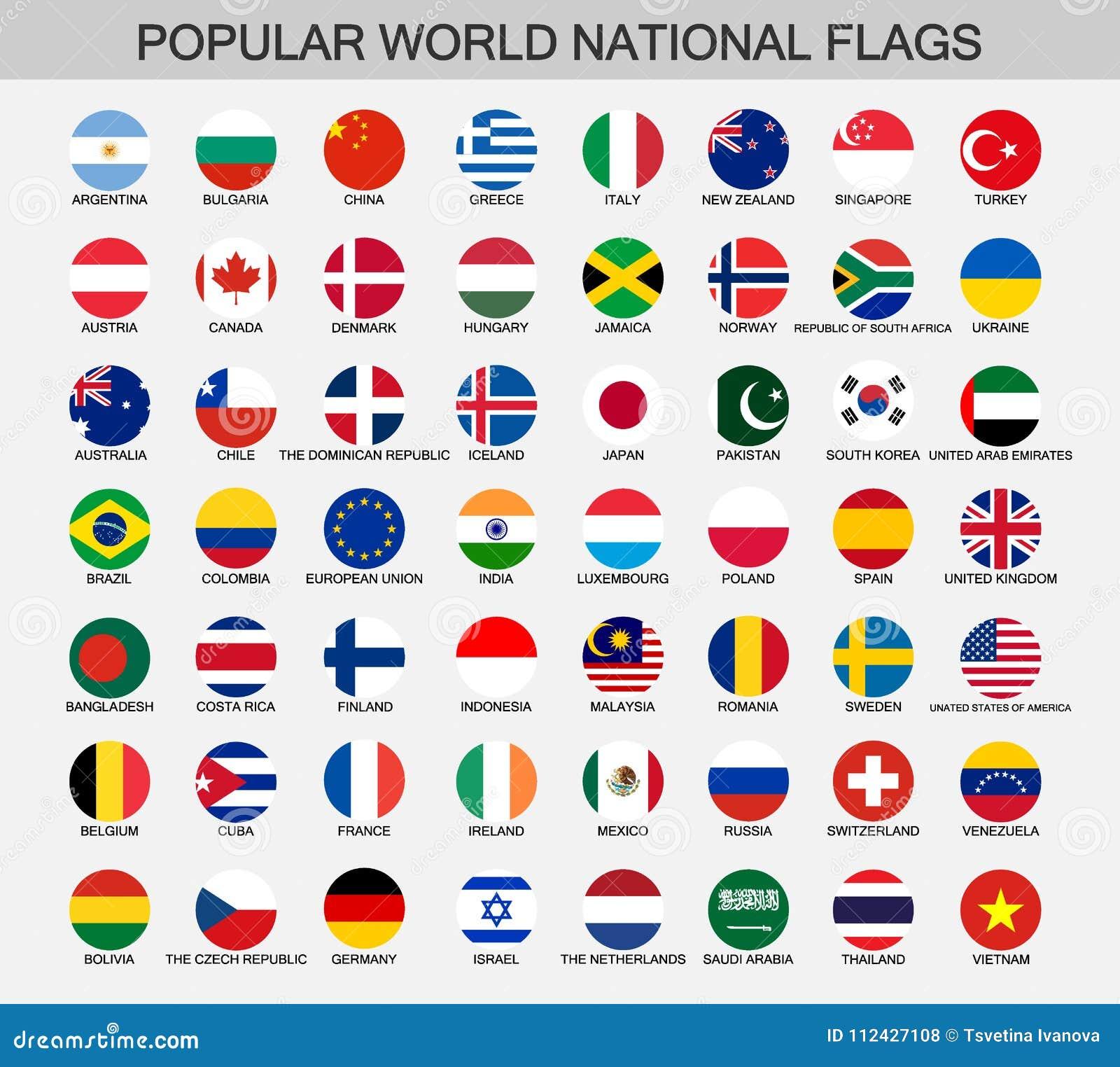 Wereld nationale vlaggen om knopen