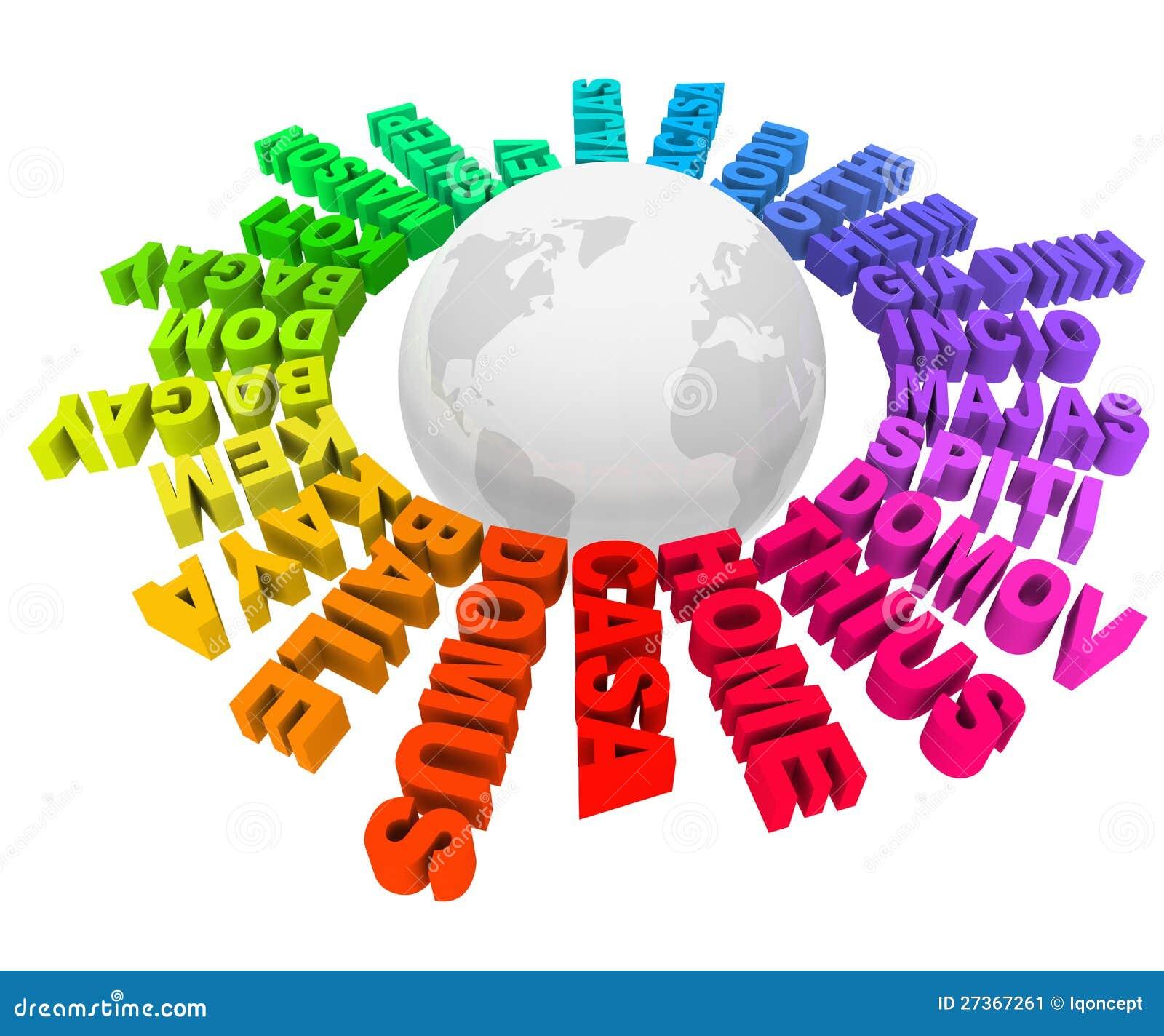 Wereld van de culturen van de talen van de woorden van het huis de verschillende stock - Tijdschriftenrek huis van de wereld ...
