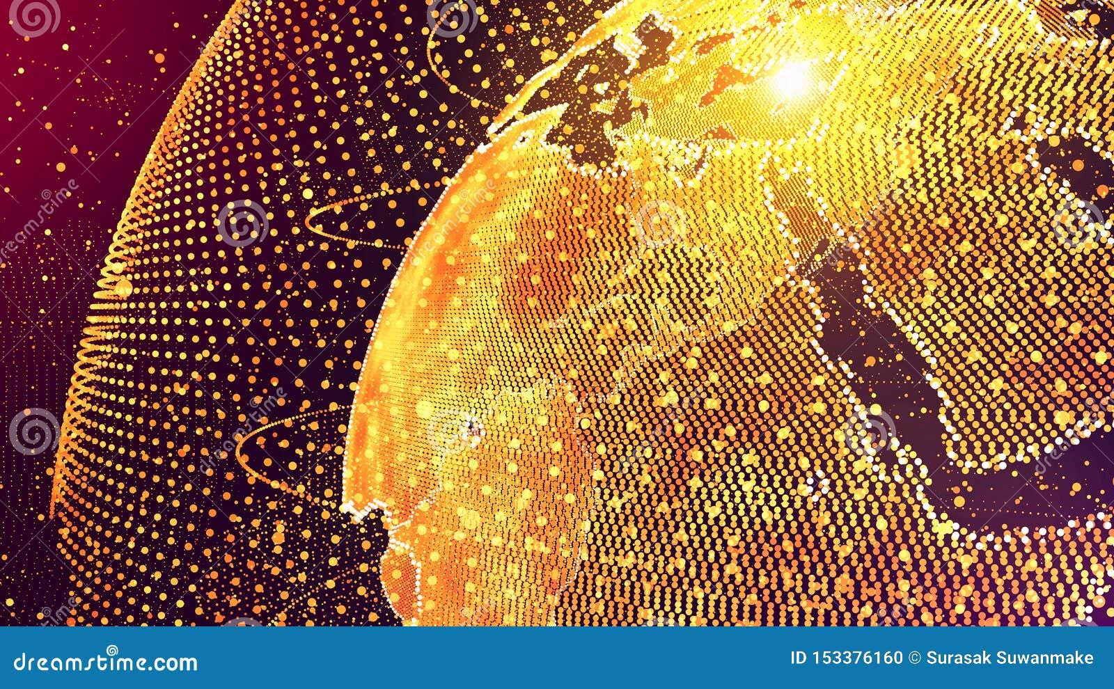 Wereldai concept van het kunstmatige intelligentie het Globale netwerk IOT Internet van dingen Het Globale Communicatienetwerk va