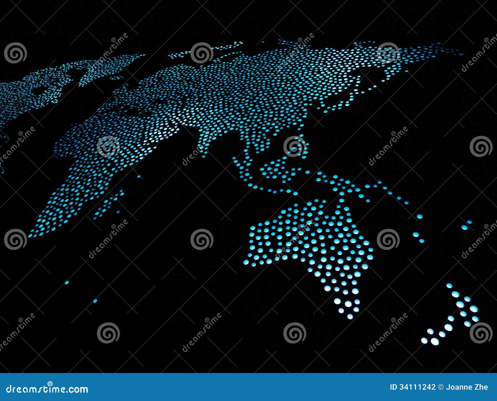 Wereldkaart in blauwe lichten