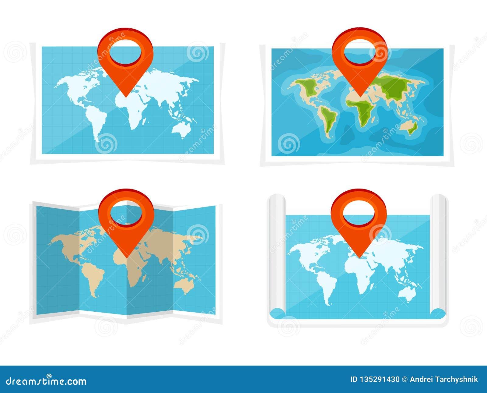Wereldkaart in een vlakke stijl Aarde, bol nearsighted Route en bestemming pictogram