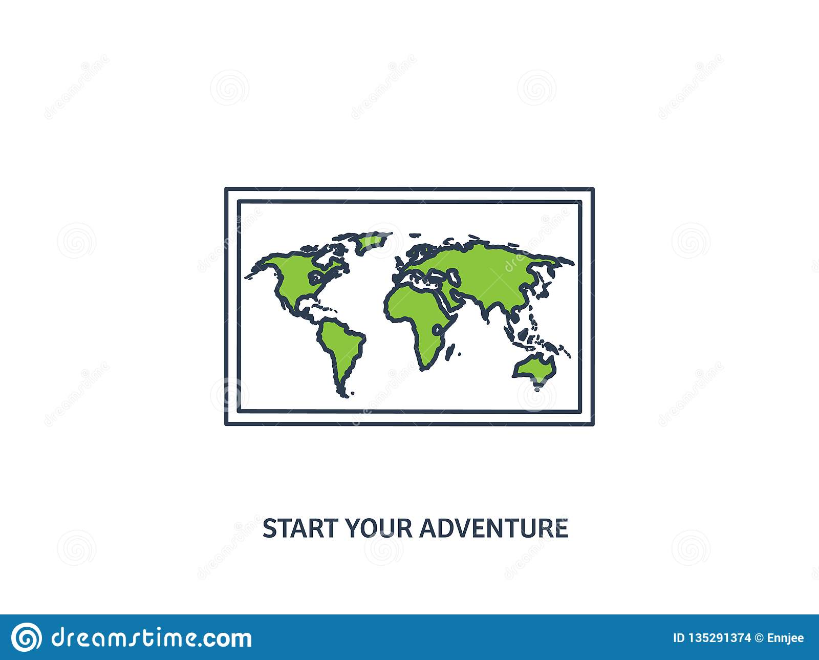 Wereldkaart in een vlakke stijl Aarde, bol nearsighted Route en bestemming pictogram Lijnart. gevoerd