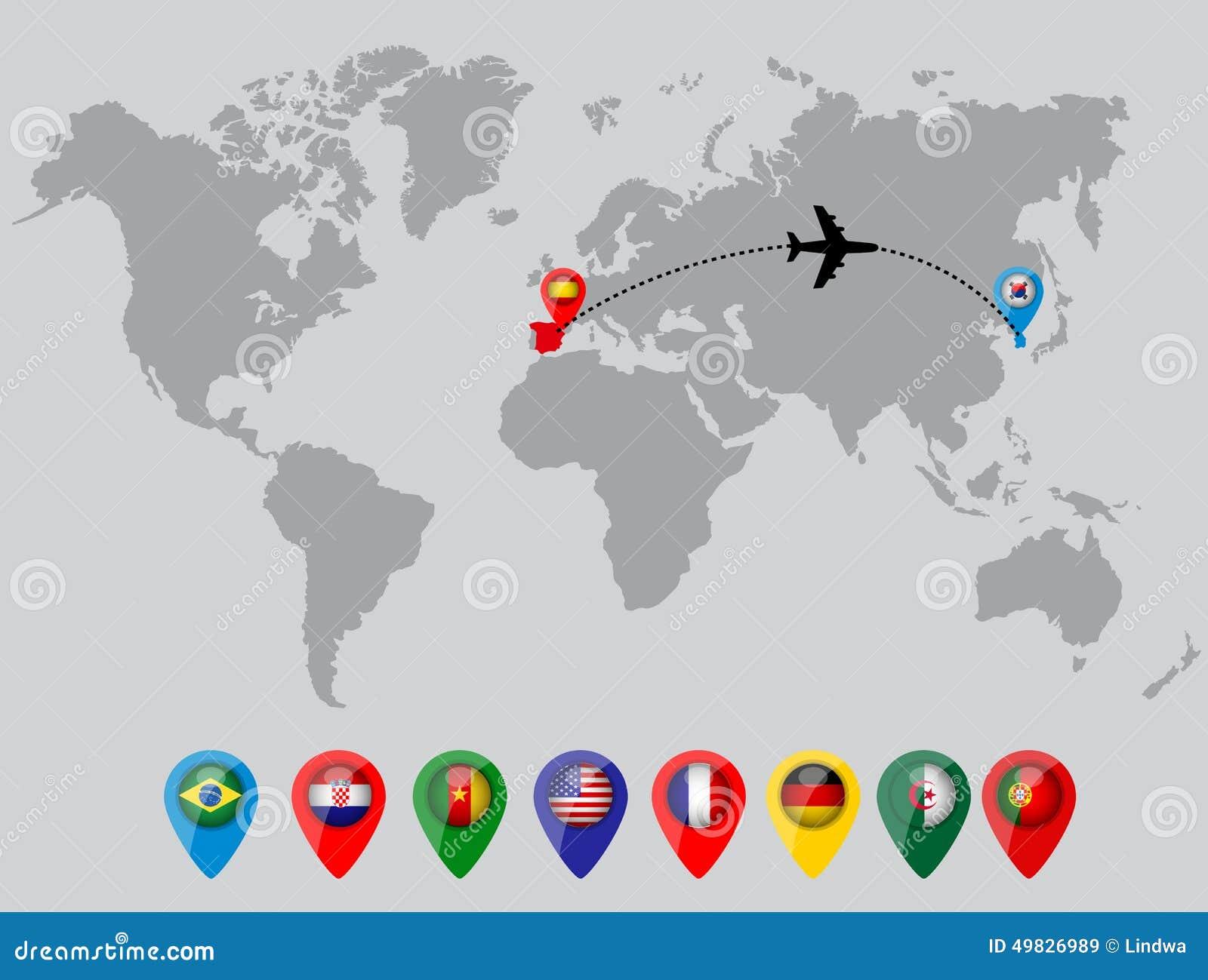 Wereldkaart met de vlagspelden van het land