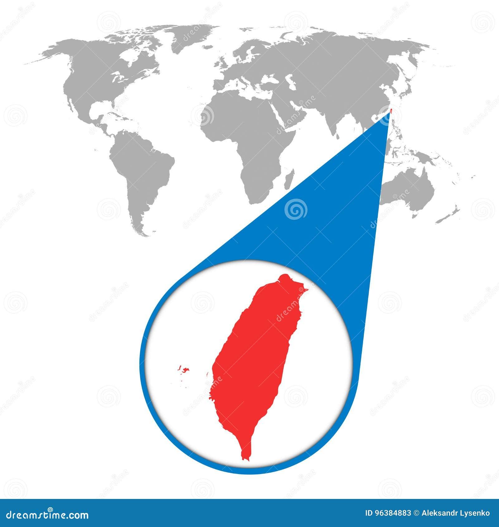 Wereldkaart met gezoem op Taiwan Kaart in loupe Vector illustratie