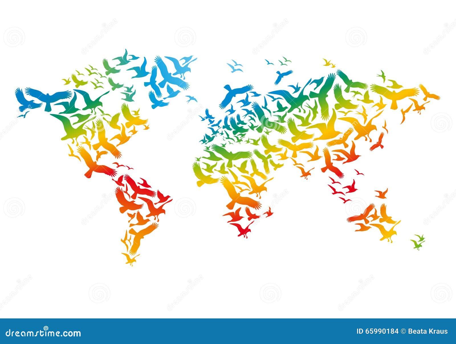Wereldkaart met vliegende vogels, vector
