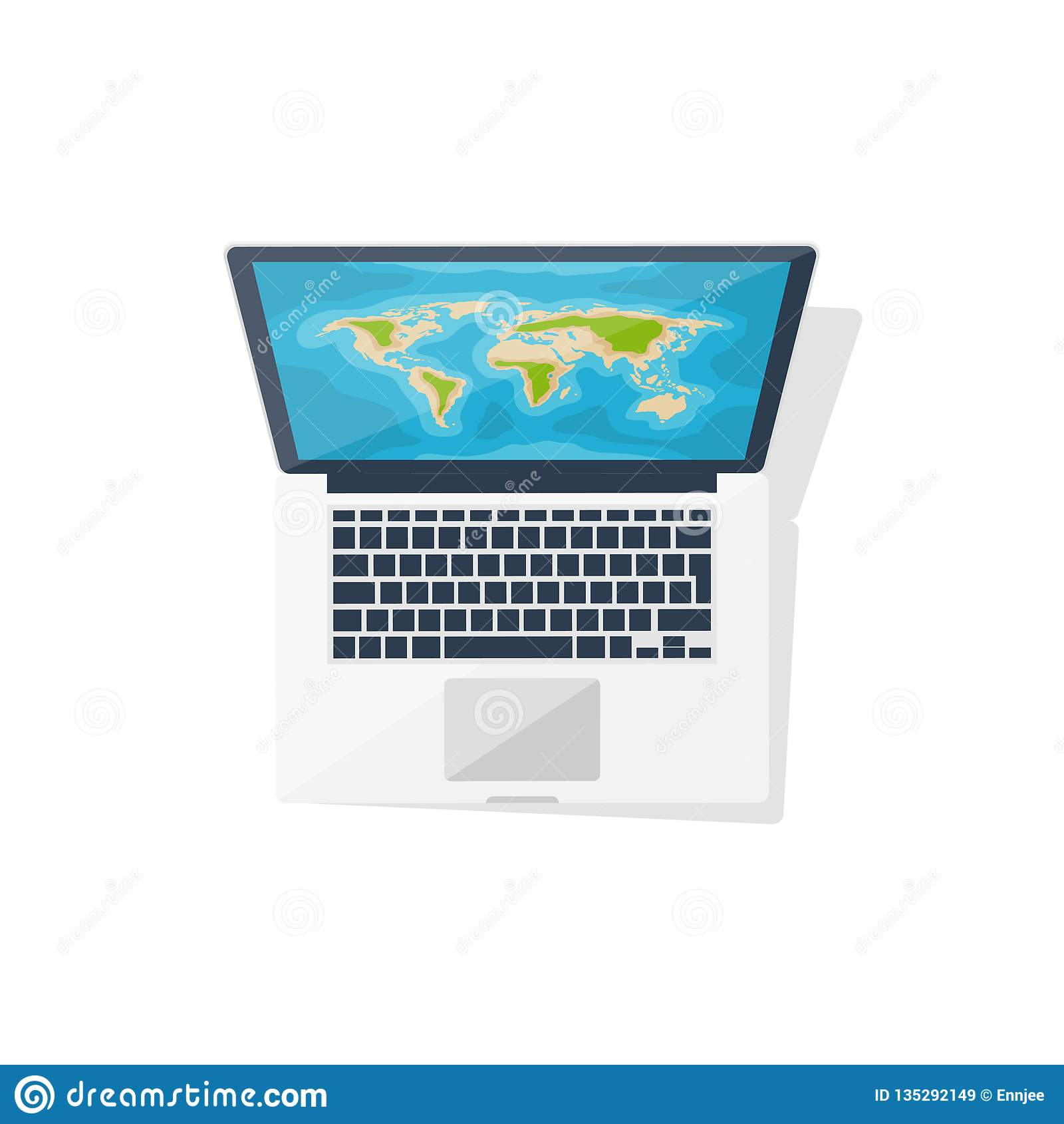 Wereldkaart op de computer Vlakke stijl nearsighted Reis en toerisme Roupe planning Vector illustratie