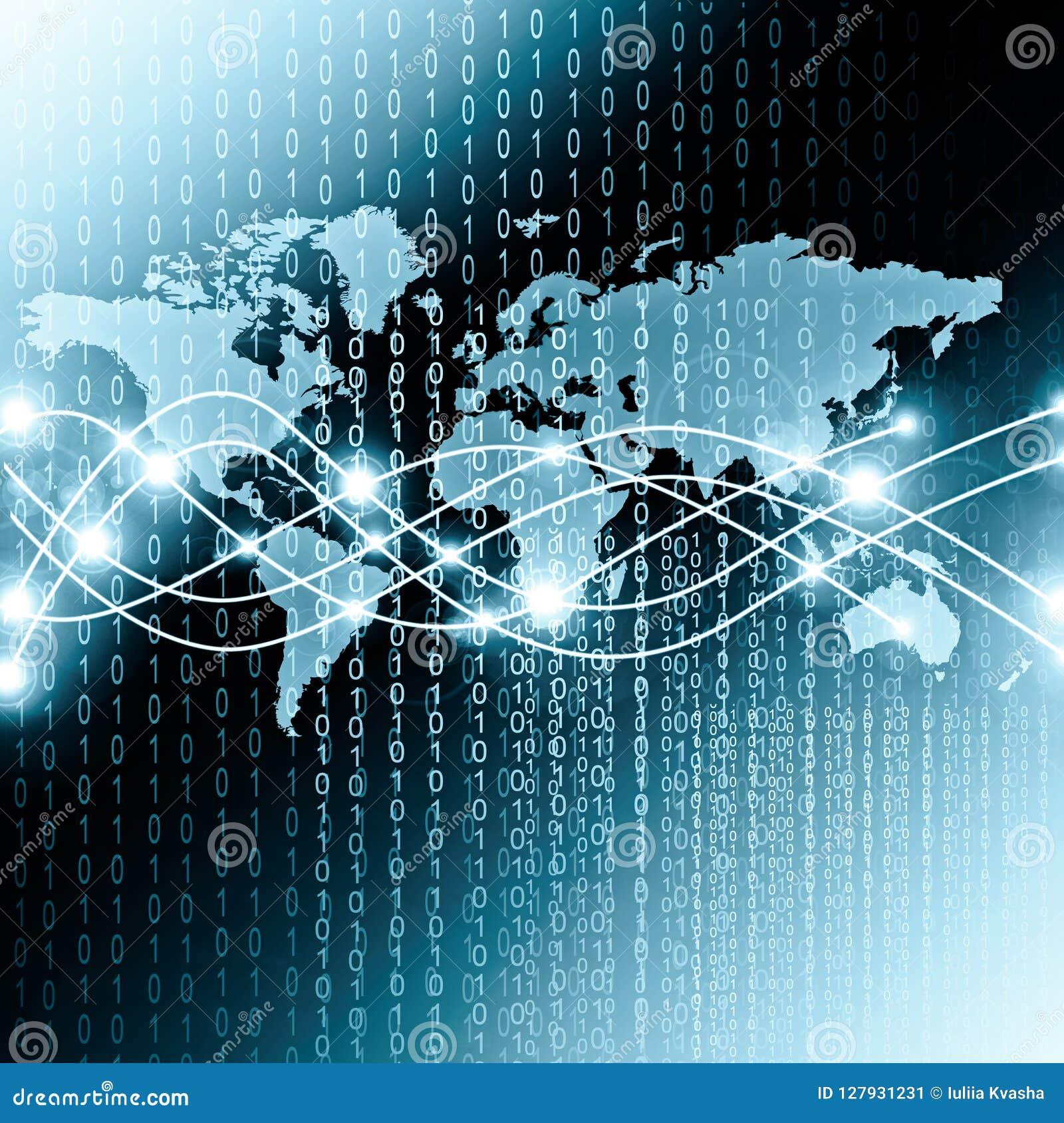 Wereldkaart op een technologische achtergrond, gloeiende lijnensymbolen van Internet, radio, televisie, mobiel en satelliet