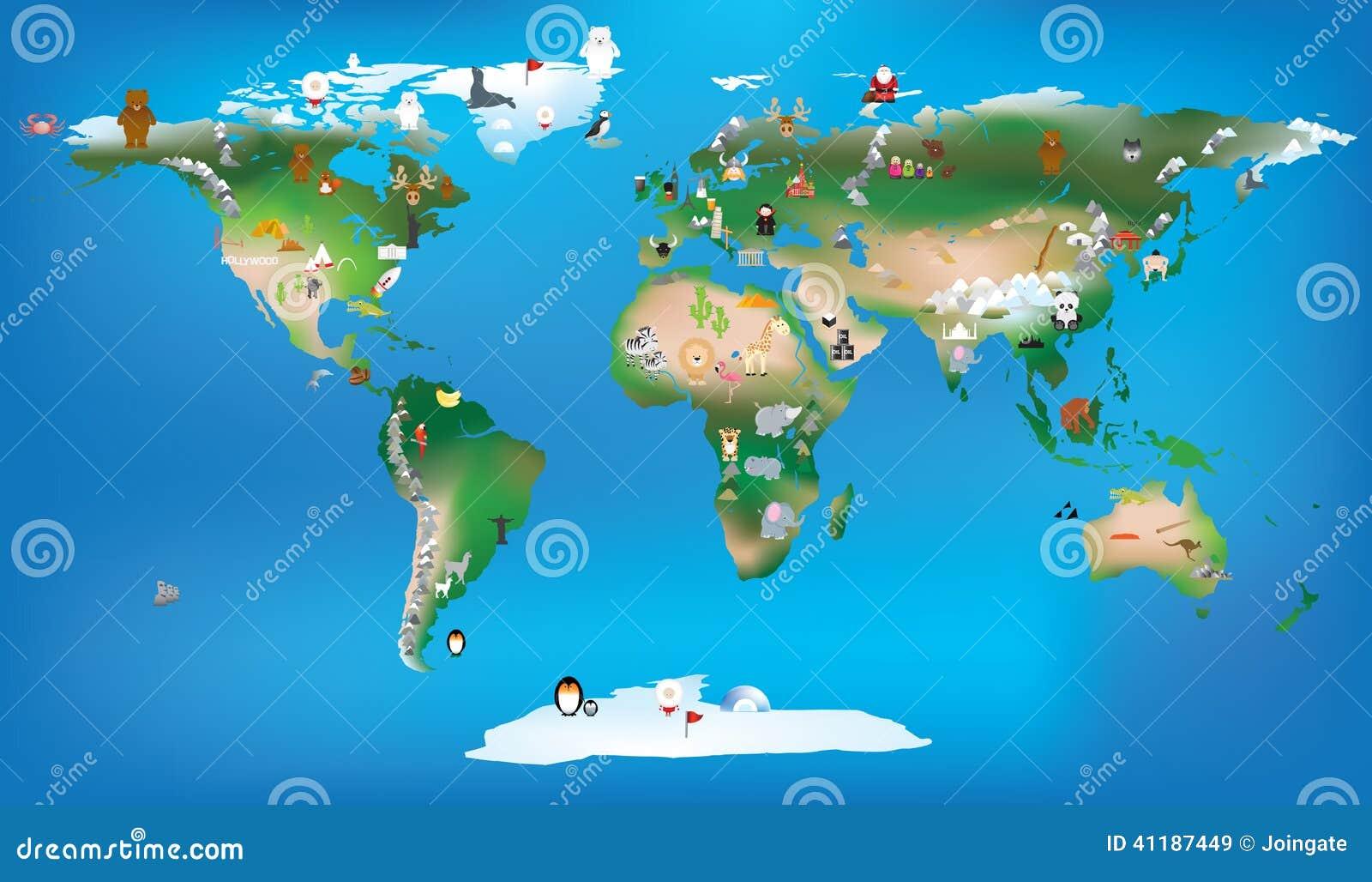 Wereldkaart voor de gebruikende beeldverhalen van kinderen van dieren en beroemde lan
