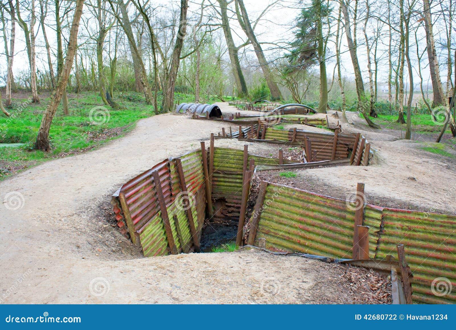 Wereldoorlog één geulen op heuvel op de gebieden België van Vlaanderen