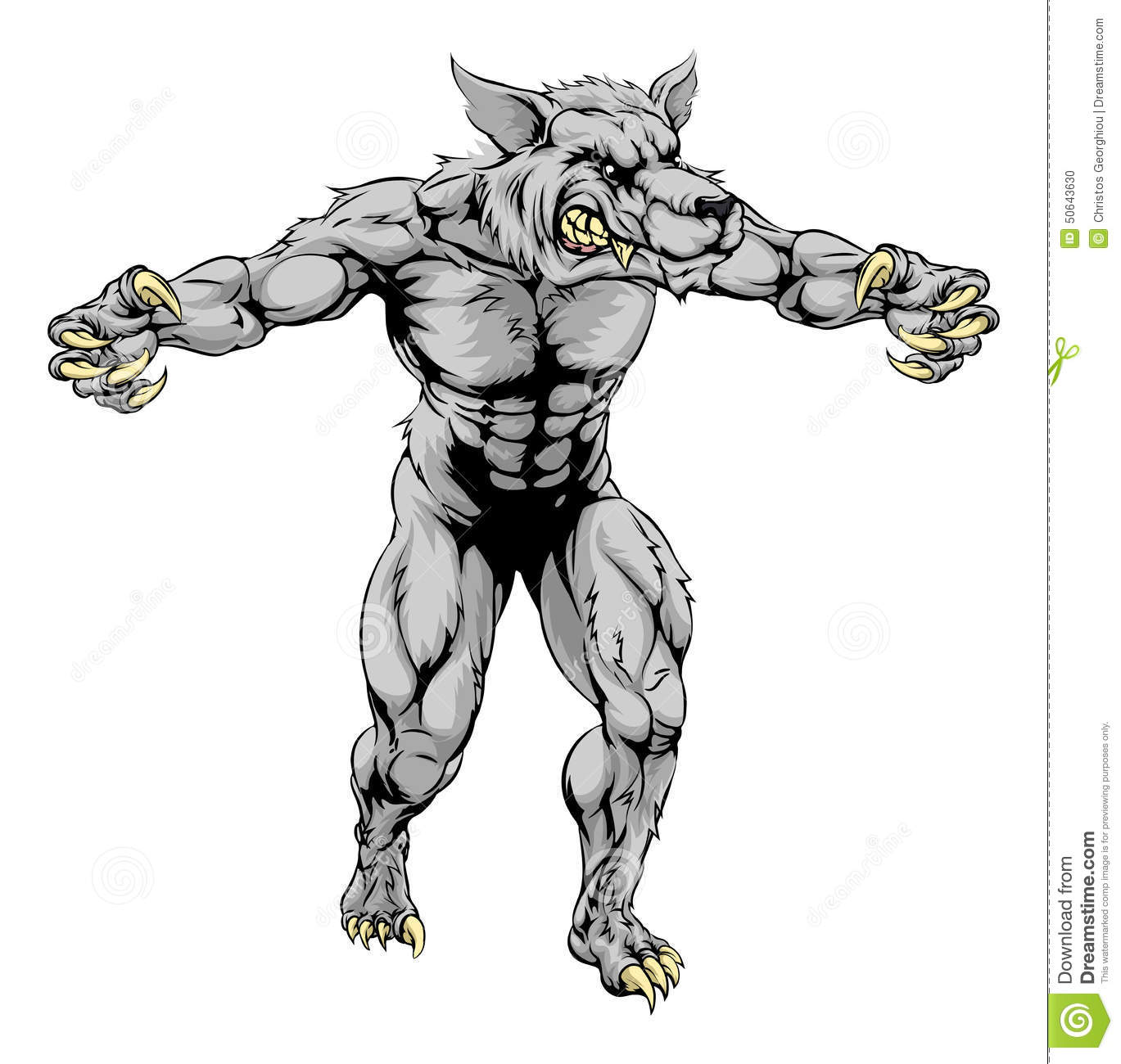 werewolf wolf scary sports mascot stock vector image