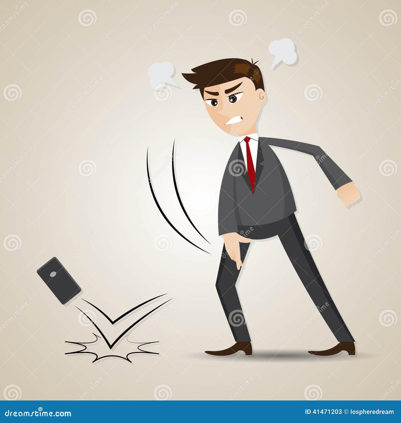 Werfendes Mobiltelefon des verärgerten Geschäftsmannes der Karikatur