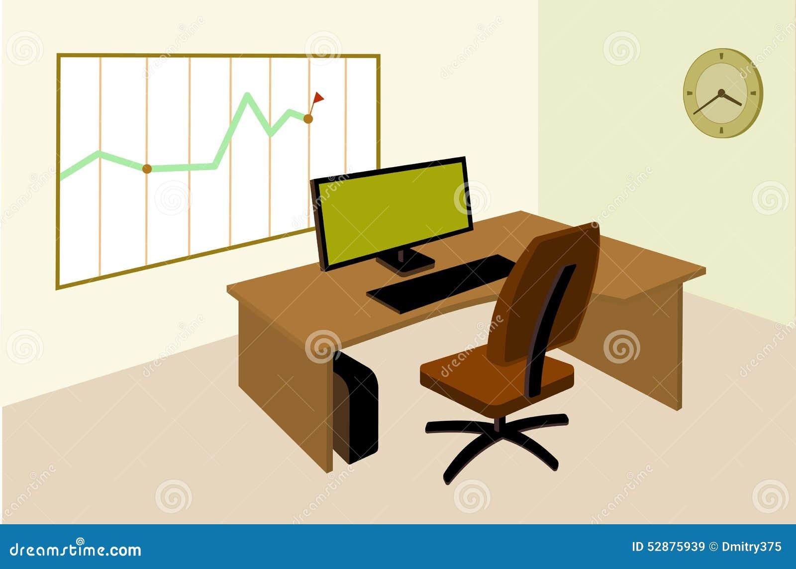 Werkende plaats in bureau met infographic op de muur