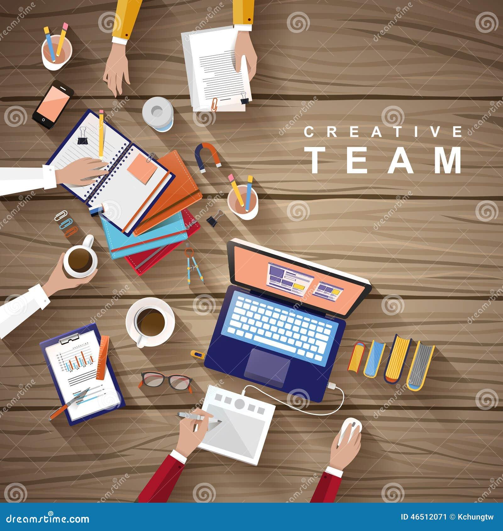 Werkende plaats van creatief team in vlak ontwerp