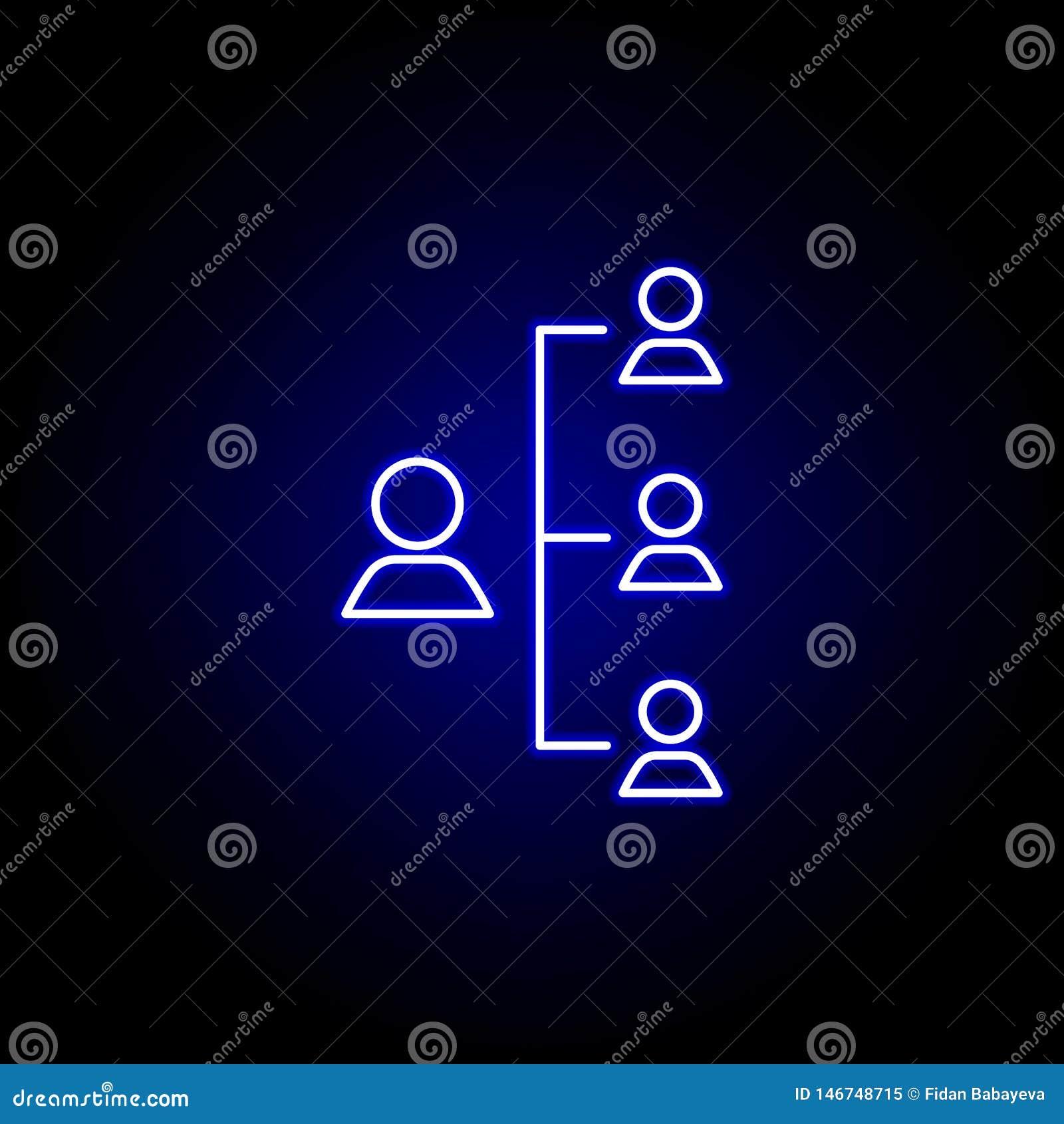 Werkgever, hiërarchie, arbeiderspictogram Elementen van Personeelsillustratie in het pictogram van de neonstijl De tekens en de s