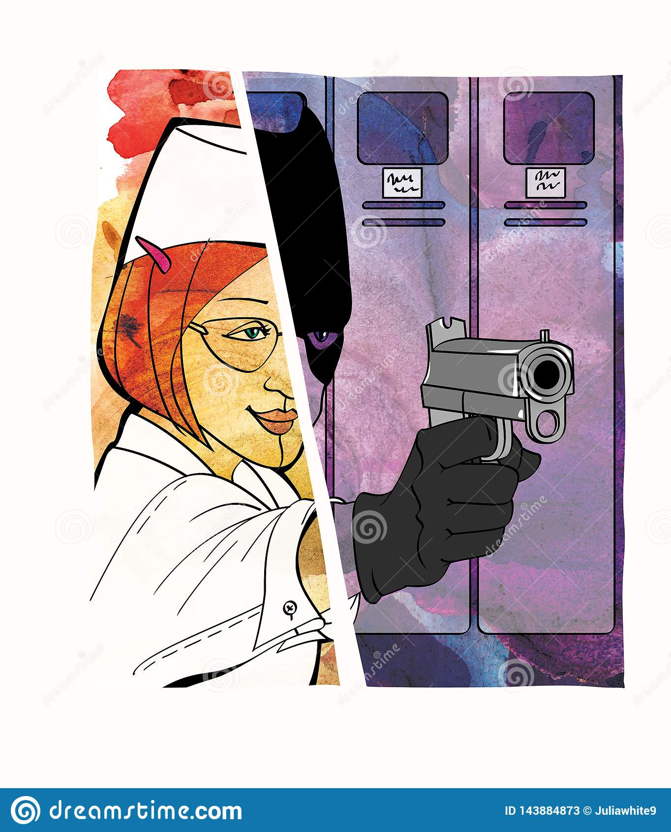 Werknemer-dief Diefstal in de werkplaats vermomming De Dombaihelft van het meisje en een meisje onder het mom van een bandiet met