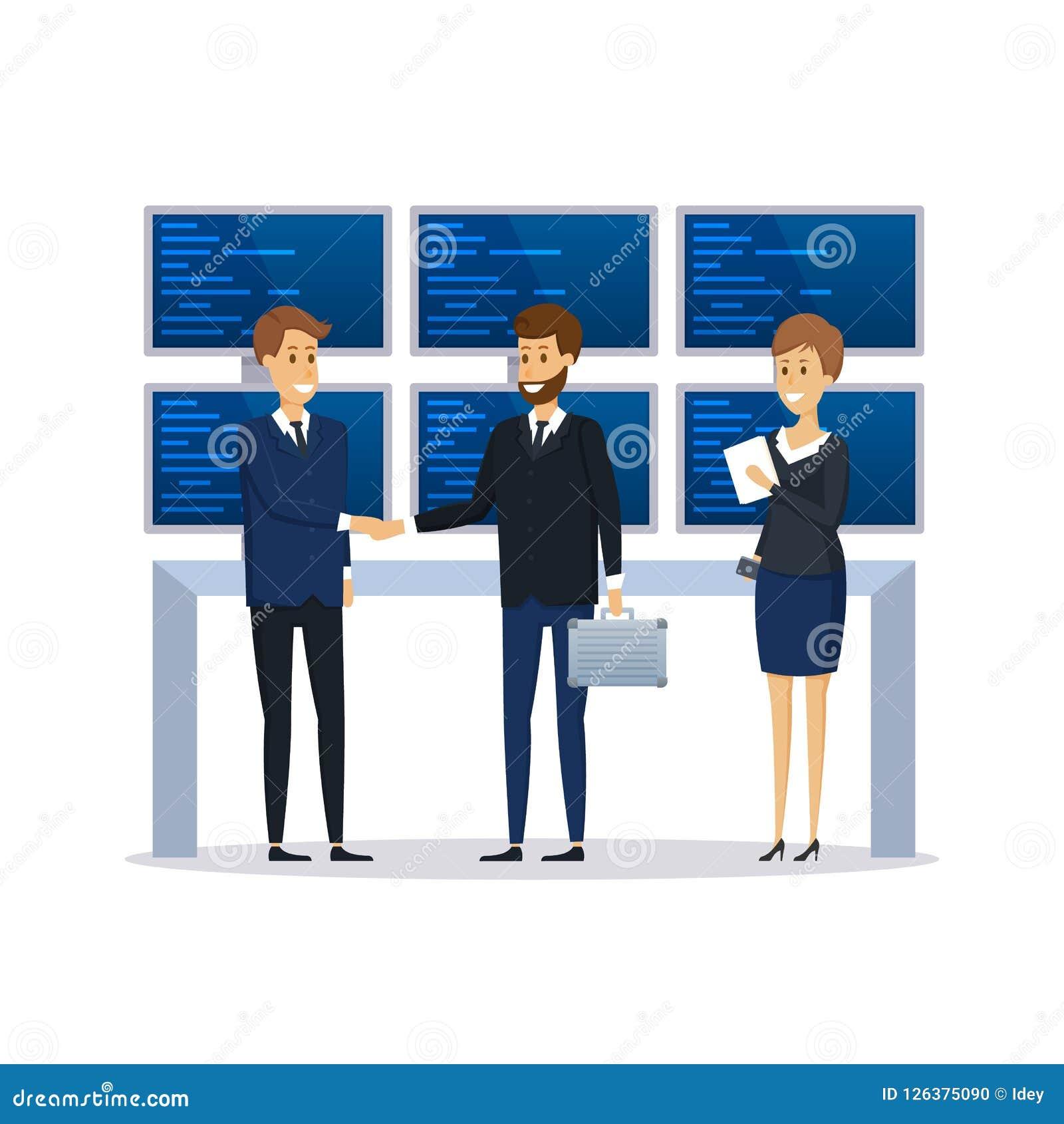 Werknemers van financiële organisatie, collega s, gedragsbespreking van gesprek