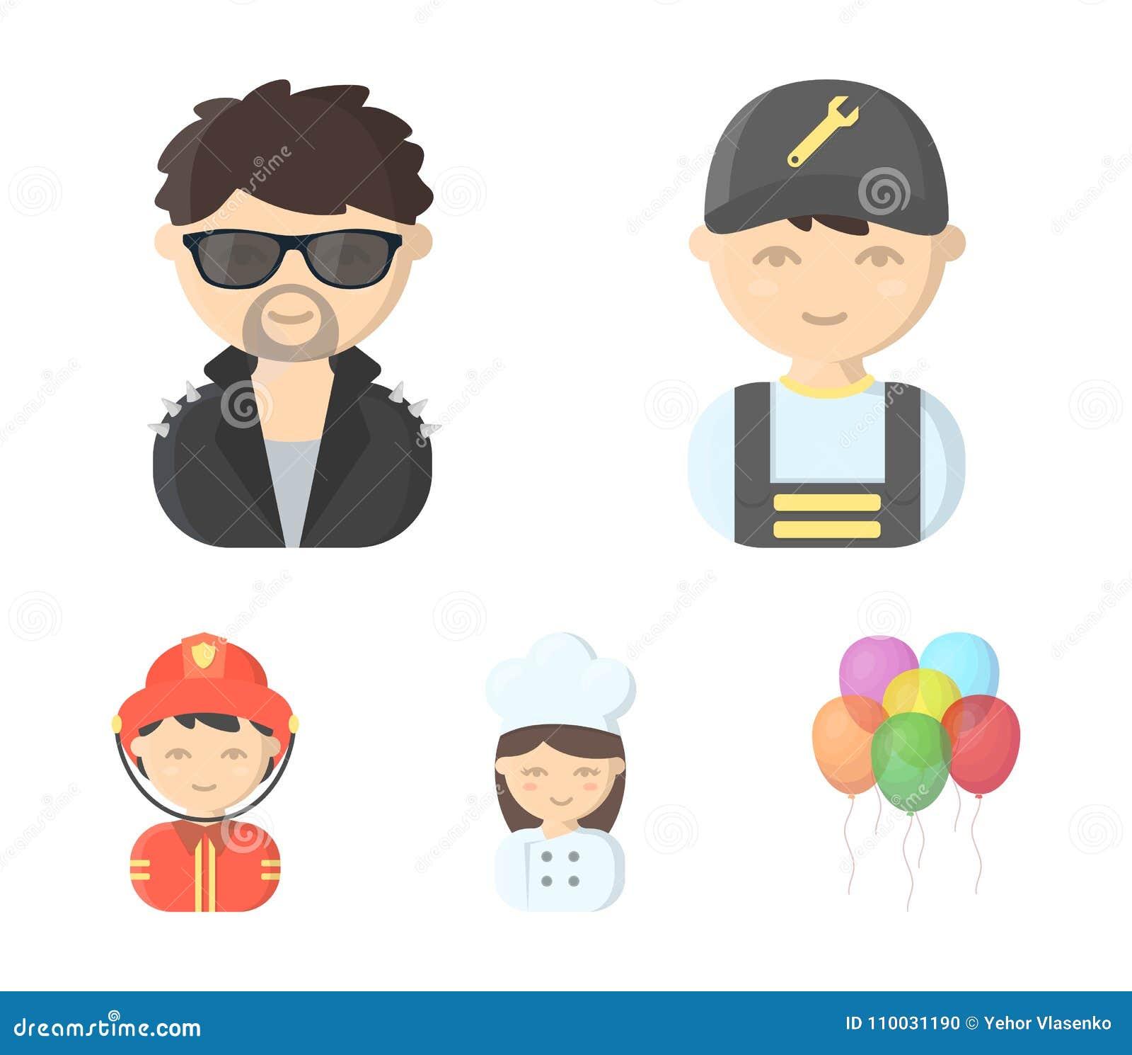 Werktuigkundige, entertainer, kok, brandweerman Pictogrammen van de beroeps de vastgestelde inzameling in illustratie van de het