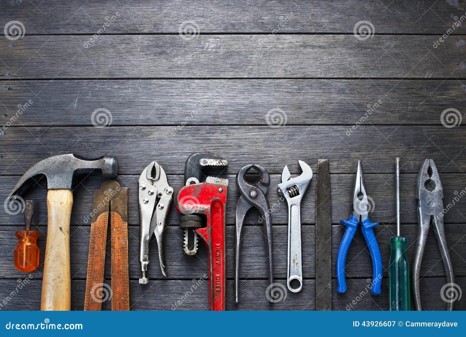 Werkzeug-rustikaler hölzerner Hintergrund