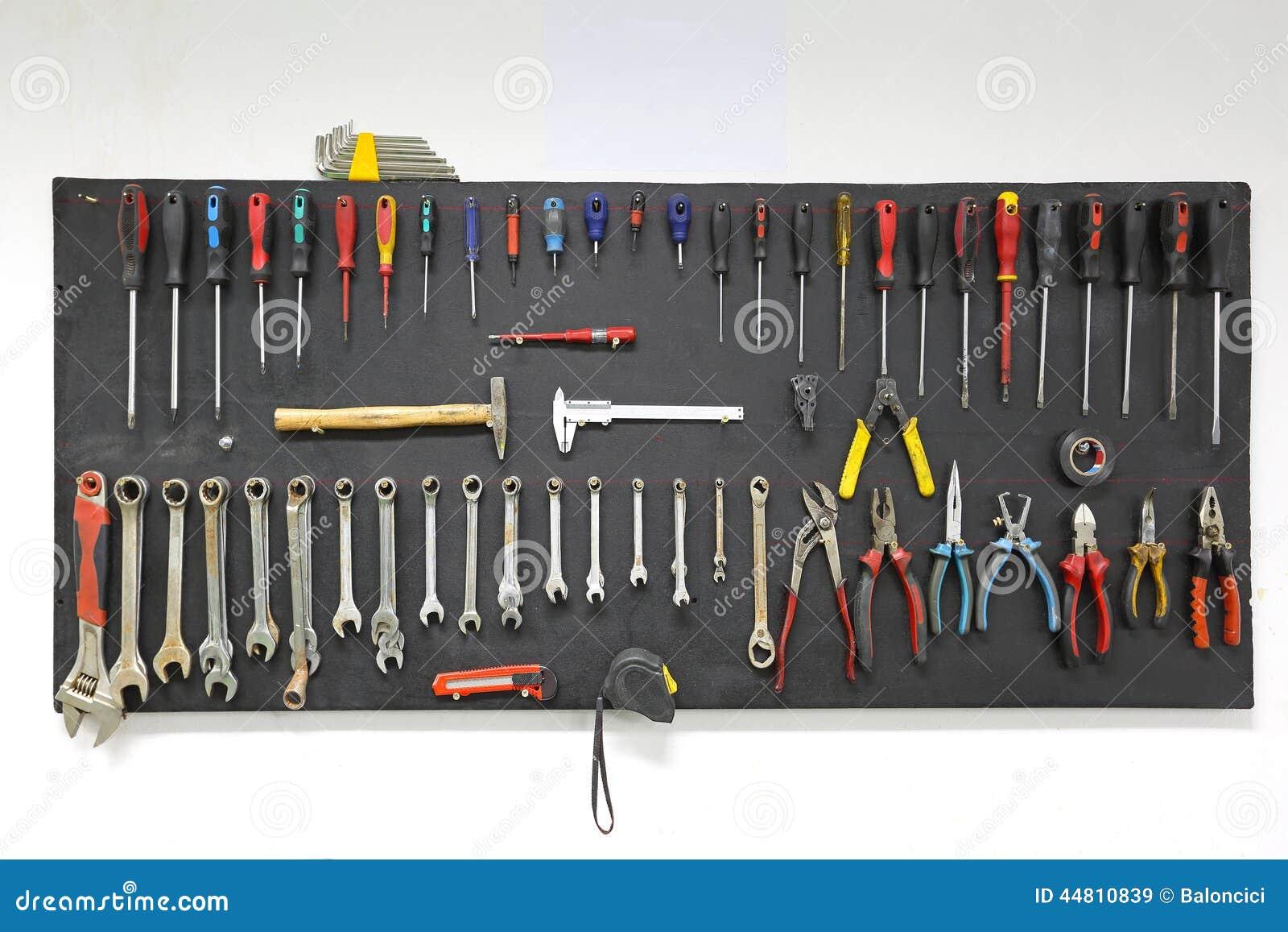 garage shadow board ideas - Werkzeugbrett Stockfoto Bild