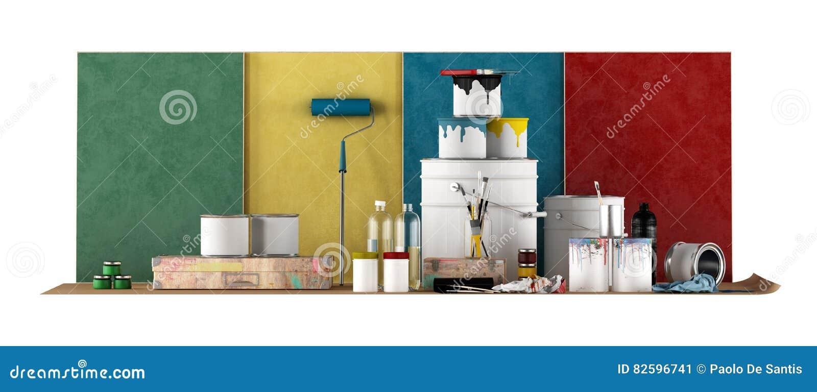 Werkzeuge Damit Ausgewahltes Farbmuster Wande Malt Stock Abbildung