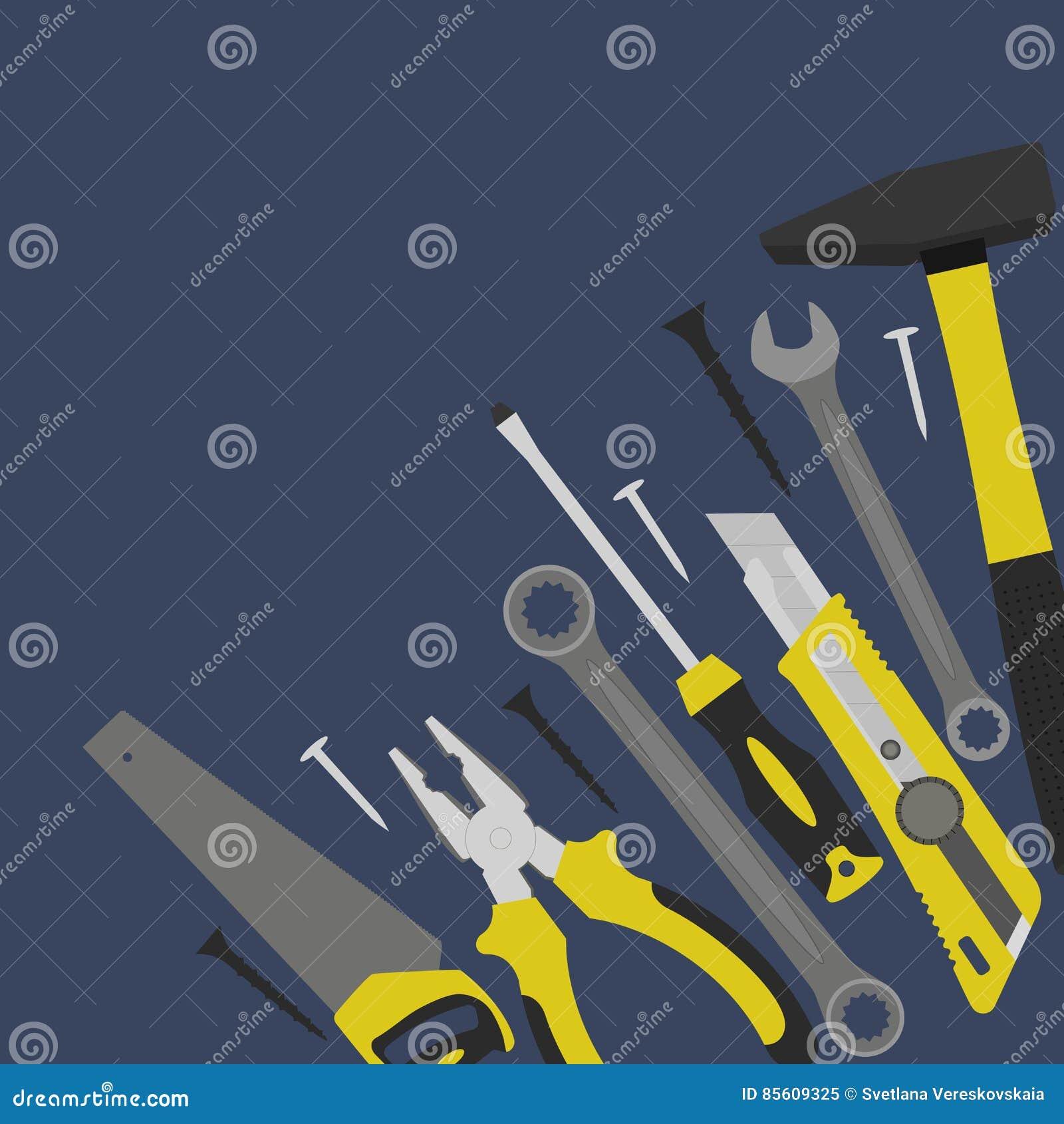 Werkzeuge für Bau und Reparatur sind in der Ecke
