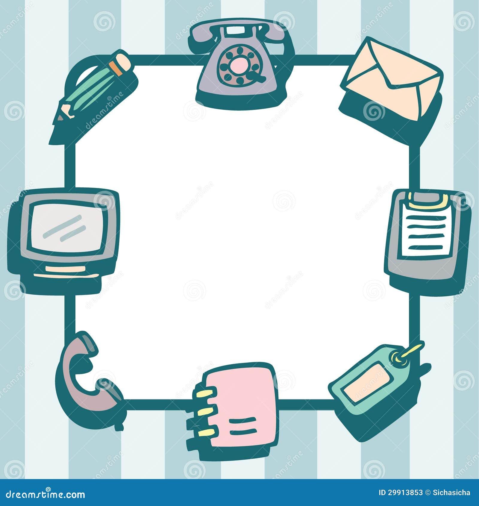 Werkzeuge Und Gegenstände Für Büro-Kommunikations-Rahmen Vektor ...
