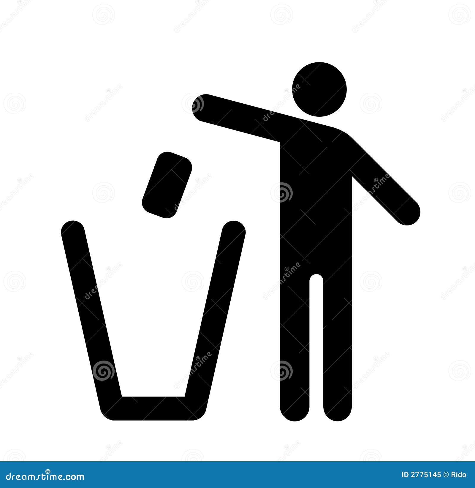 Werp vuilnis in de bak