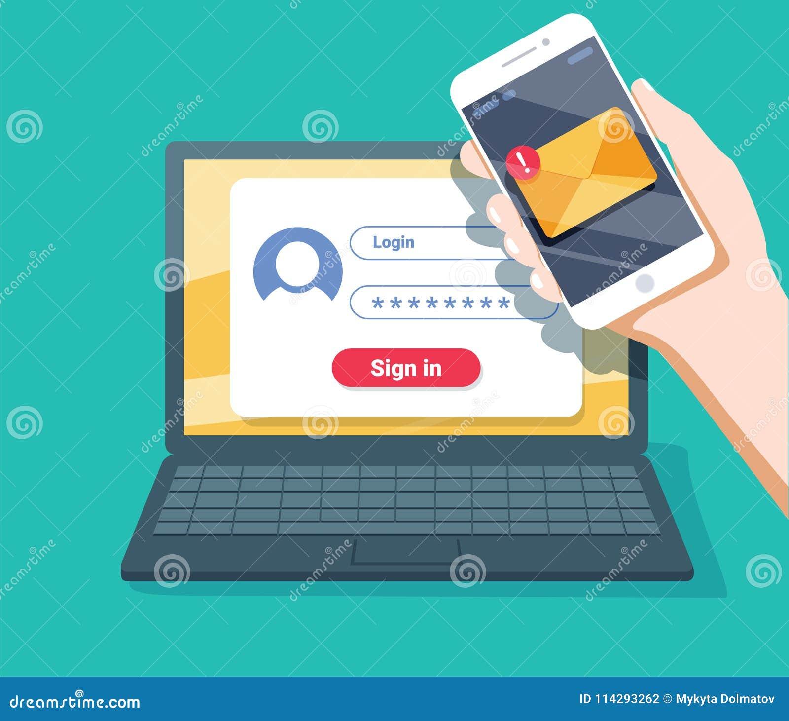 Weryfikacja kodu wiadomość Laptop i smartphone z kodem Informaci osobistej ochrona