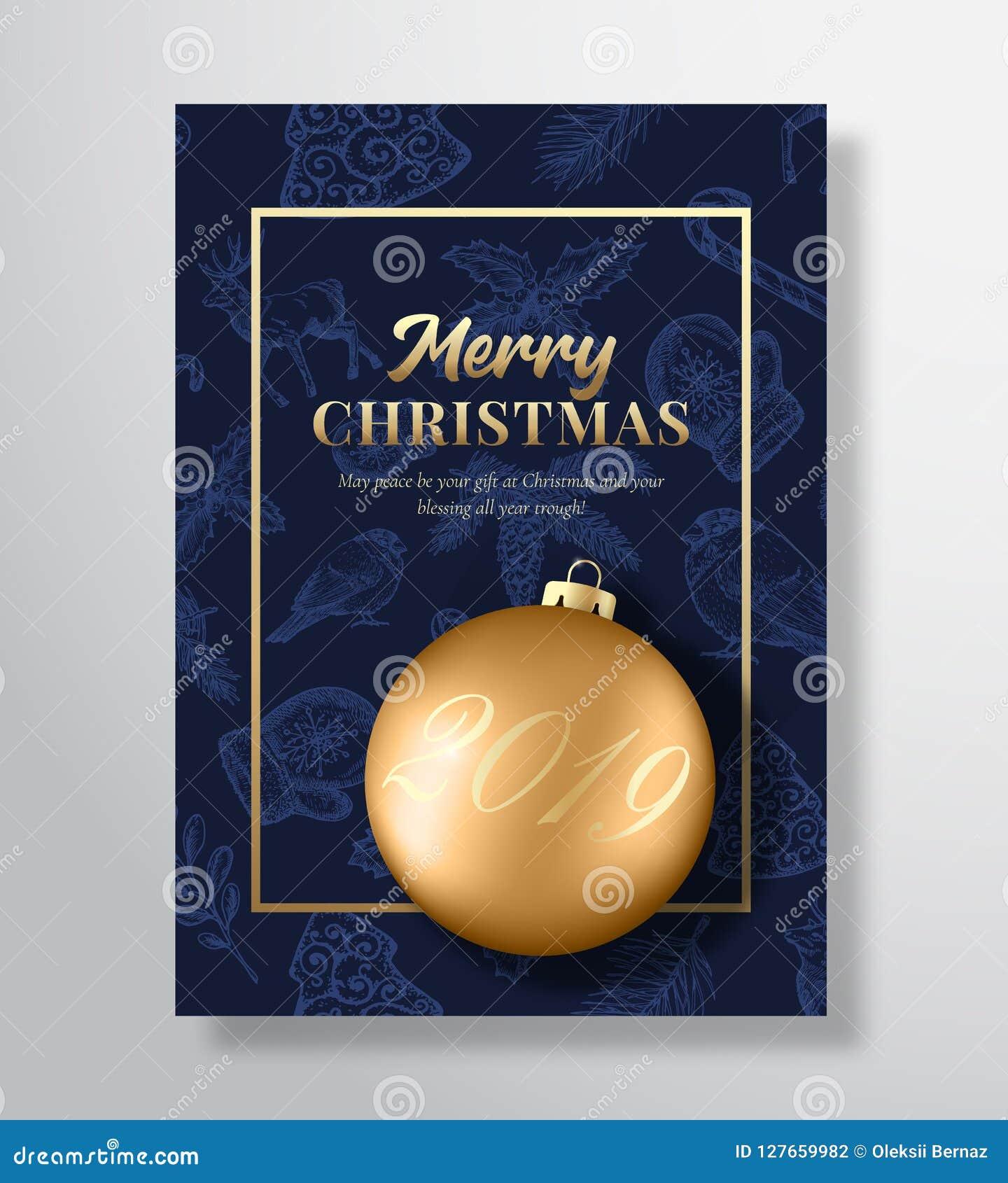 Wesoło boże narodzenia Abstrakcjonistyczny Wektorowy kartka z pozdrowieniami, plakat lub wakacje tło, Z klasą Błękitni i złoto ko