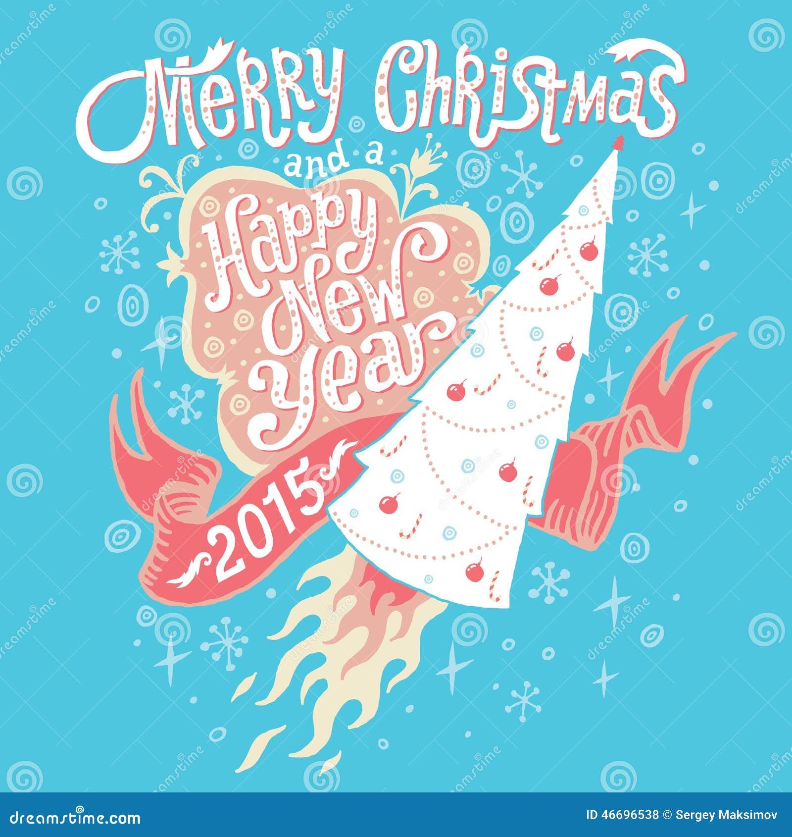 Wesoło boże narodzenia i Szczęśliwy nowego roku 2015 kartka z pozdrowieniami z ręki literowania typografią również zwrócić corel