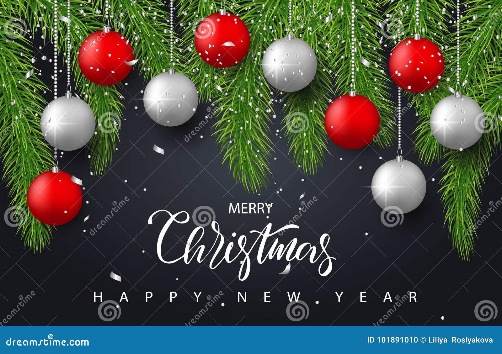 Wesoło boże narodzenia i Szczęśliwy nowego roku tło z czerwienią, srebro piłki, gałąź i confetti, Wakacyjny powitanie