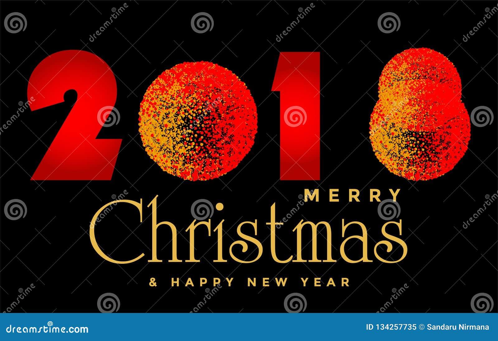 Wesoło boże narodzenia 2018 i szczęśliwy 2019 nowego roku teksta wita projekt w złocie barwili ikonę na abstrakcjonistycznym czar