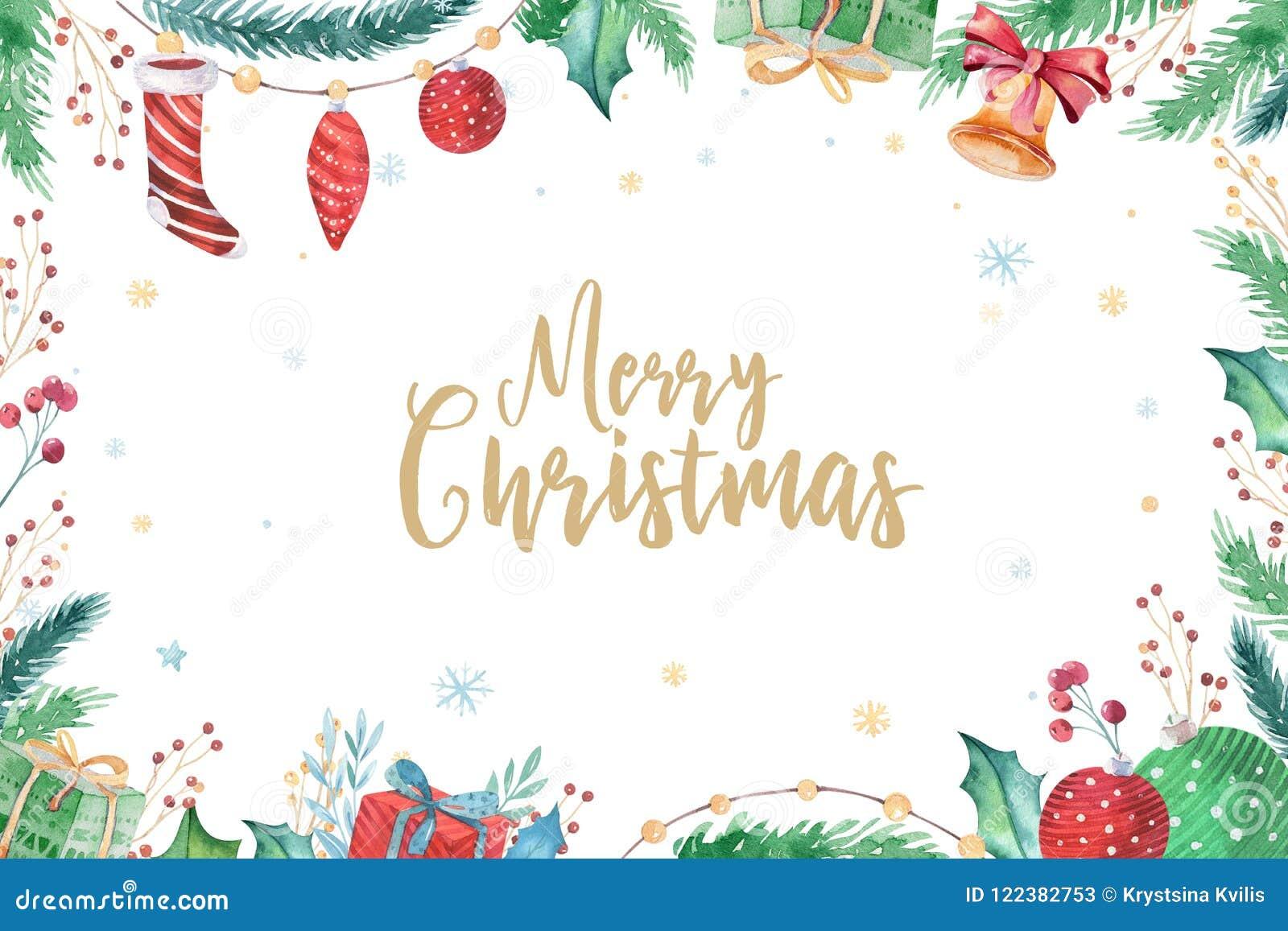 Wesoło boże narodzenia i Szczęśliwy nowy rok dekoraci zimy 2019 set Akwarela wakacje tło Xmas elementu karta