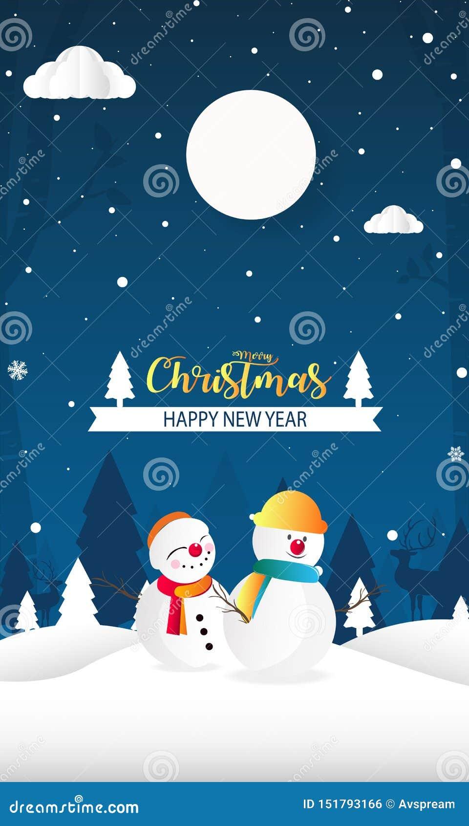 Wesoło boże narodzenia i Szczęśliwy nowy rok z śnieżnym mężczyzny tła papieru cięciem