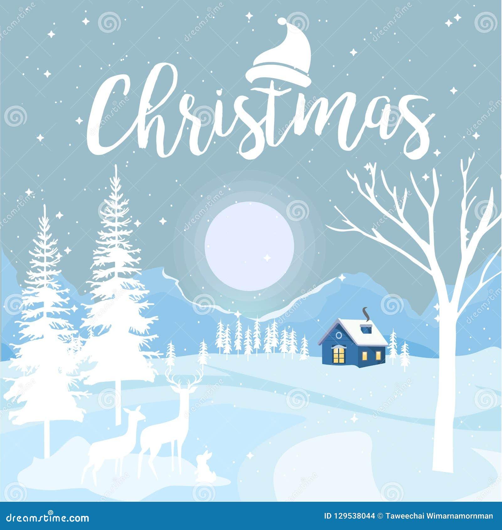 Wesoło boże narodzenia i Szczęśliwy nowy rok z chałupą i płatek śniegu na Błękitnym tle, Bożenarodzeniowy reklamowy pojęcie proje