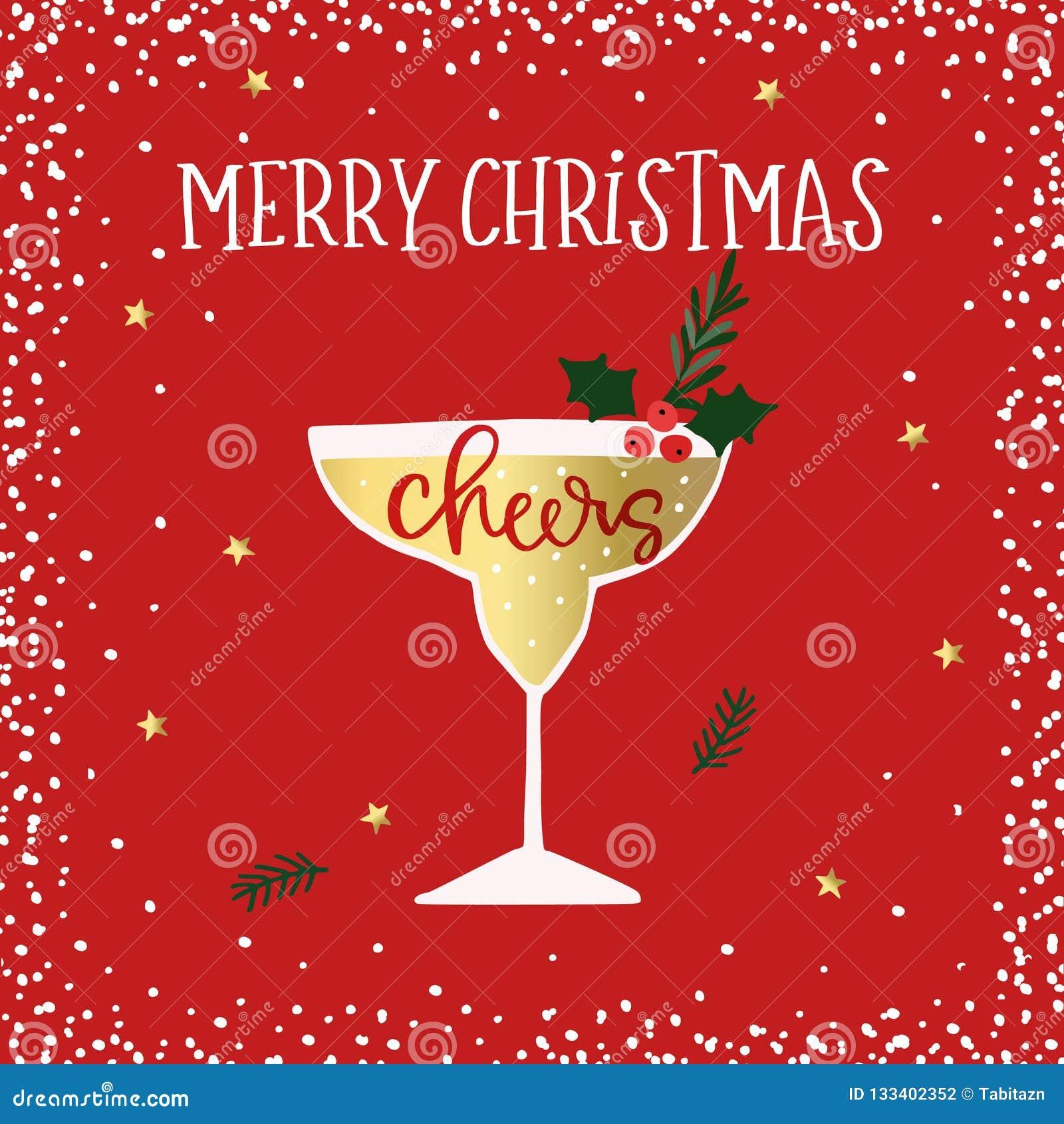 Wesoło boże narodzenia, Szczęśliwy nowego roku kartka z pozdrowieniami Koktajl, wina szkło z uświęconymi jagodami Rozwesela handl