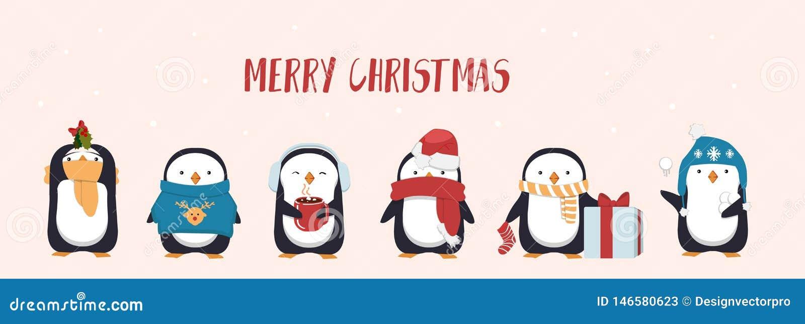 Wesoło bożych narodzeń kartka z pozdrowieniami z ślicznym pingwinem Sezonowi charakterów pingwiny jest ubranym kapelusze i trzyma