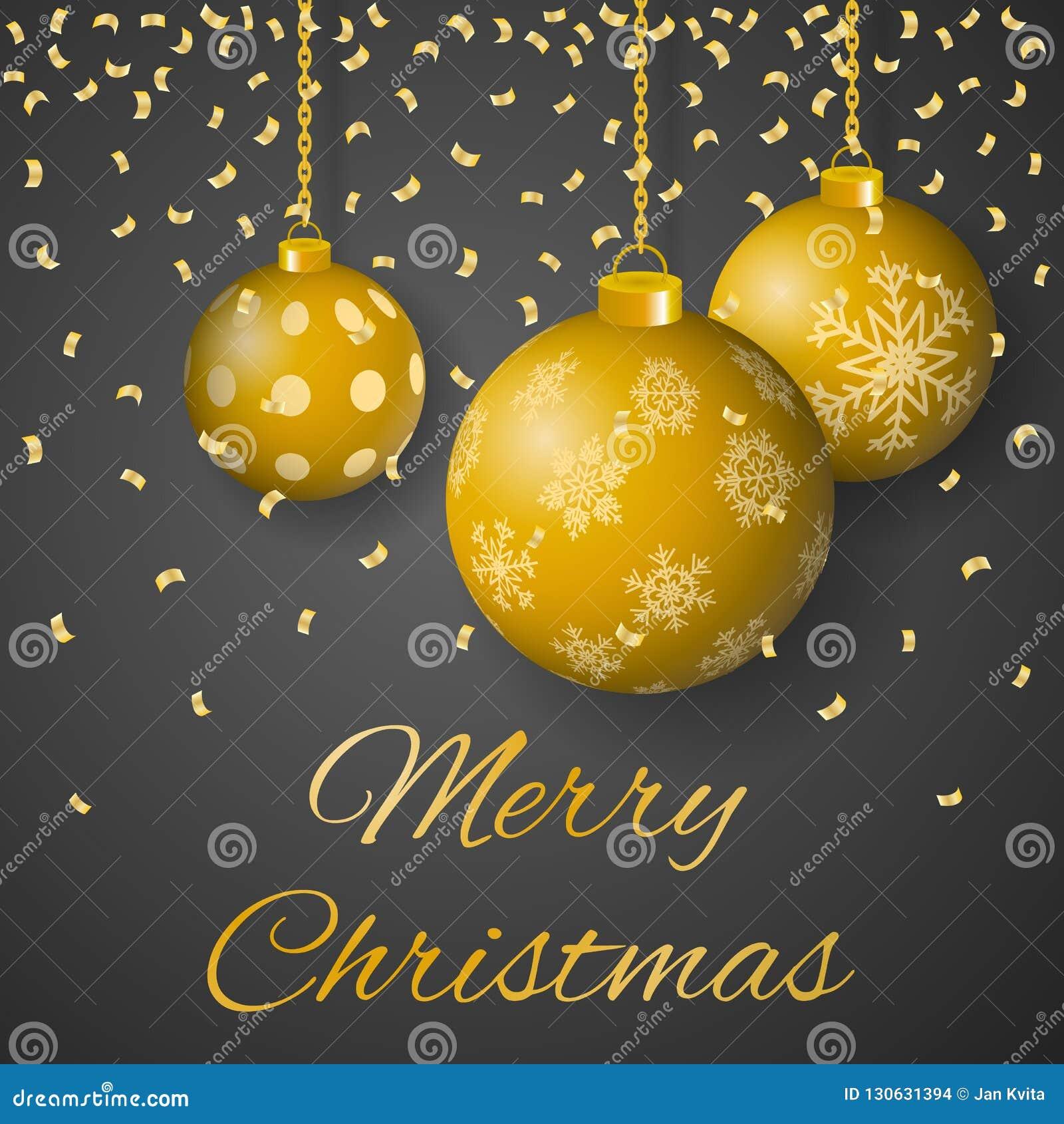 Wesoło bożych narodzeń kartki z pozdrowieniami luksusowy wektor z dekorującym wiszącym złotem barwił boże narodzenie ornamenty na