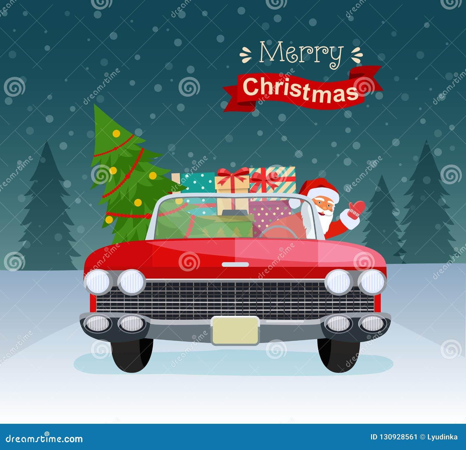 Wesoło bożych narodzeń stylizowana typografia Rocznika czerwony kabriolet z Santa Claus, choinki i prezenta pudełkami,