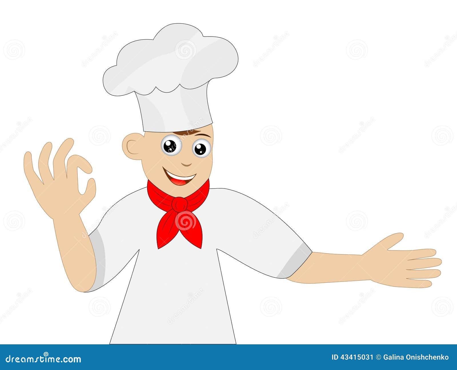 Wesoło mężczyzna kucharz na białym tle