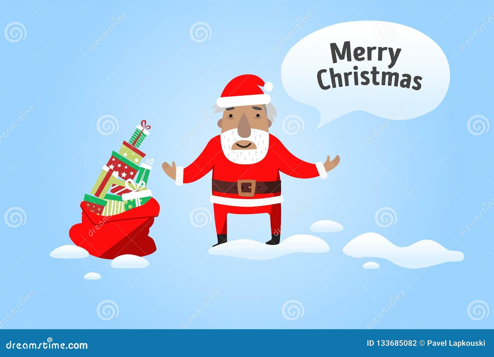 Wesołych Świąt Święty Mikołaj z workiem prezenty