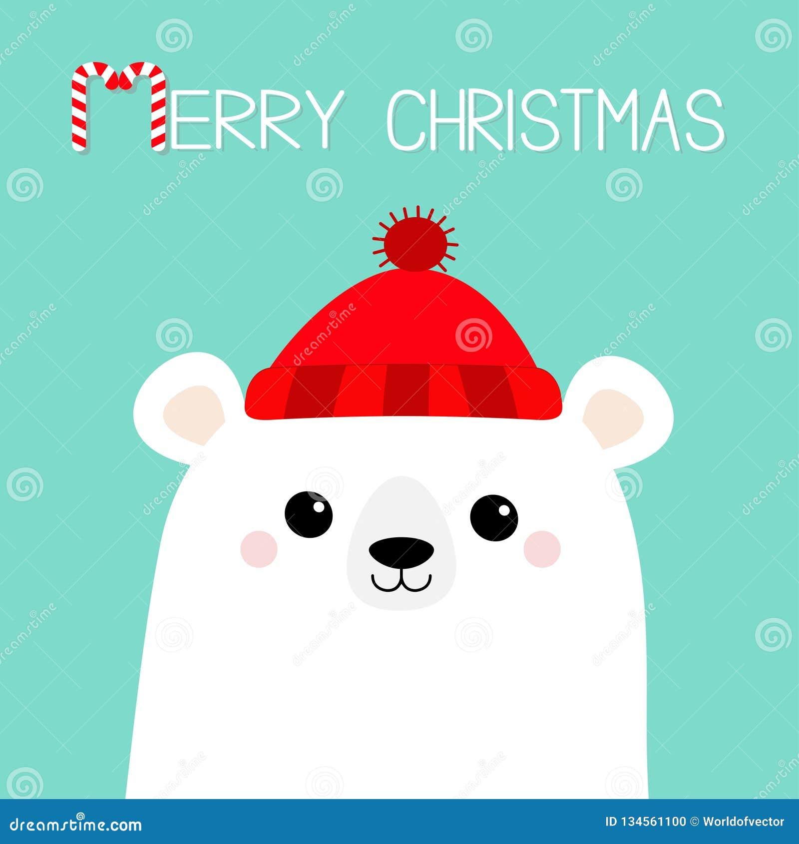 Wesołych Świąt Cukierek trzcina Biegunowa biała niedźwiadkowego lisiątka twarz Czerwony kapelusz szczęśliwego nowego roku, Śliczn