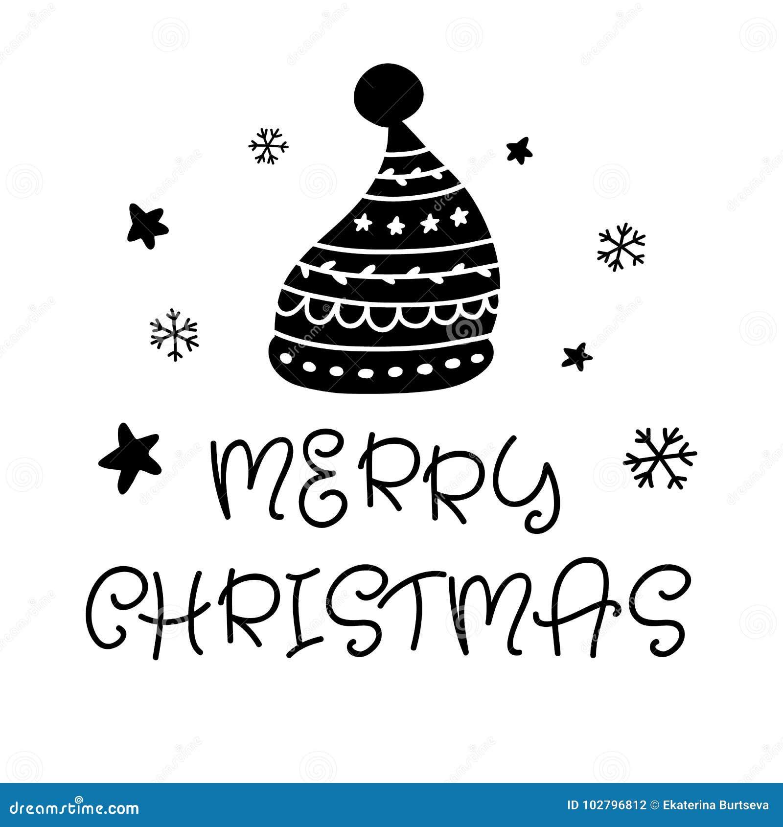 Wesołych Świąt Skandynawska ręka rysujący kartka z pozdrowieniami z Santa kapeluszem