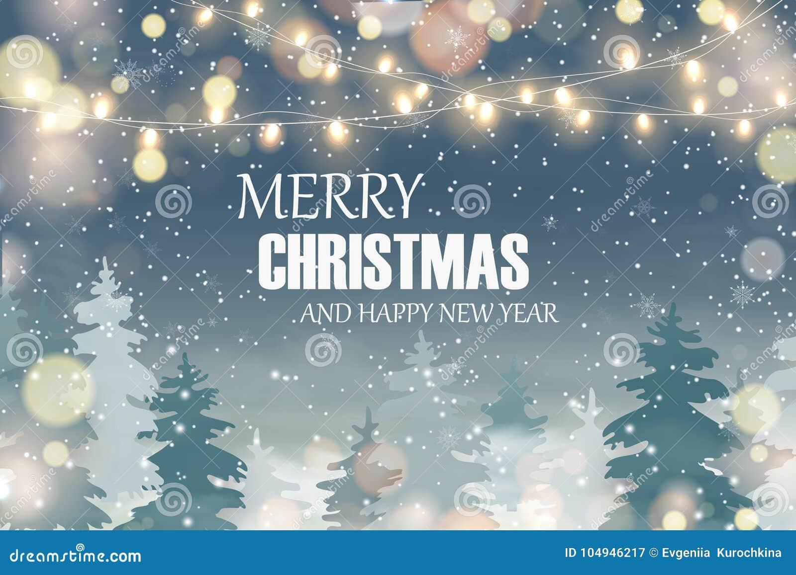 Wesołych Świąt szczęśliwego nowego roku, Boże Narodzenia kształtują teren z Spada Bożenarodzeniowym śniegiem,