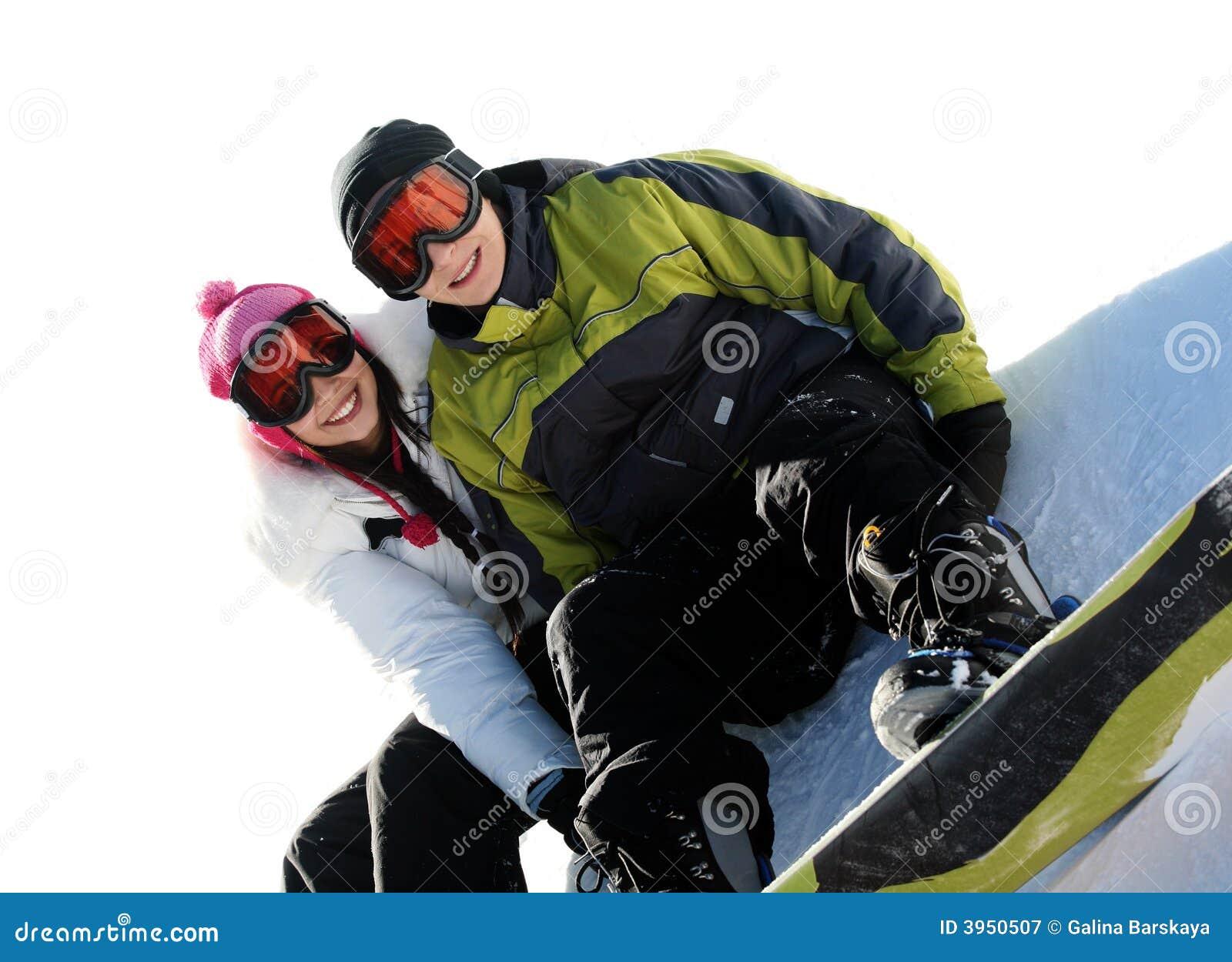 Wesołych snowboarders par