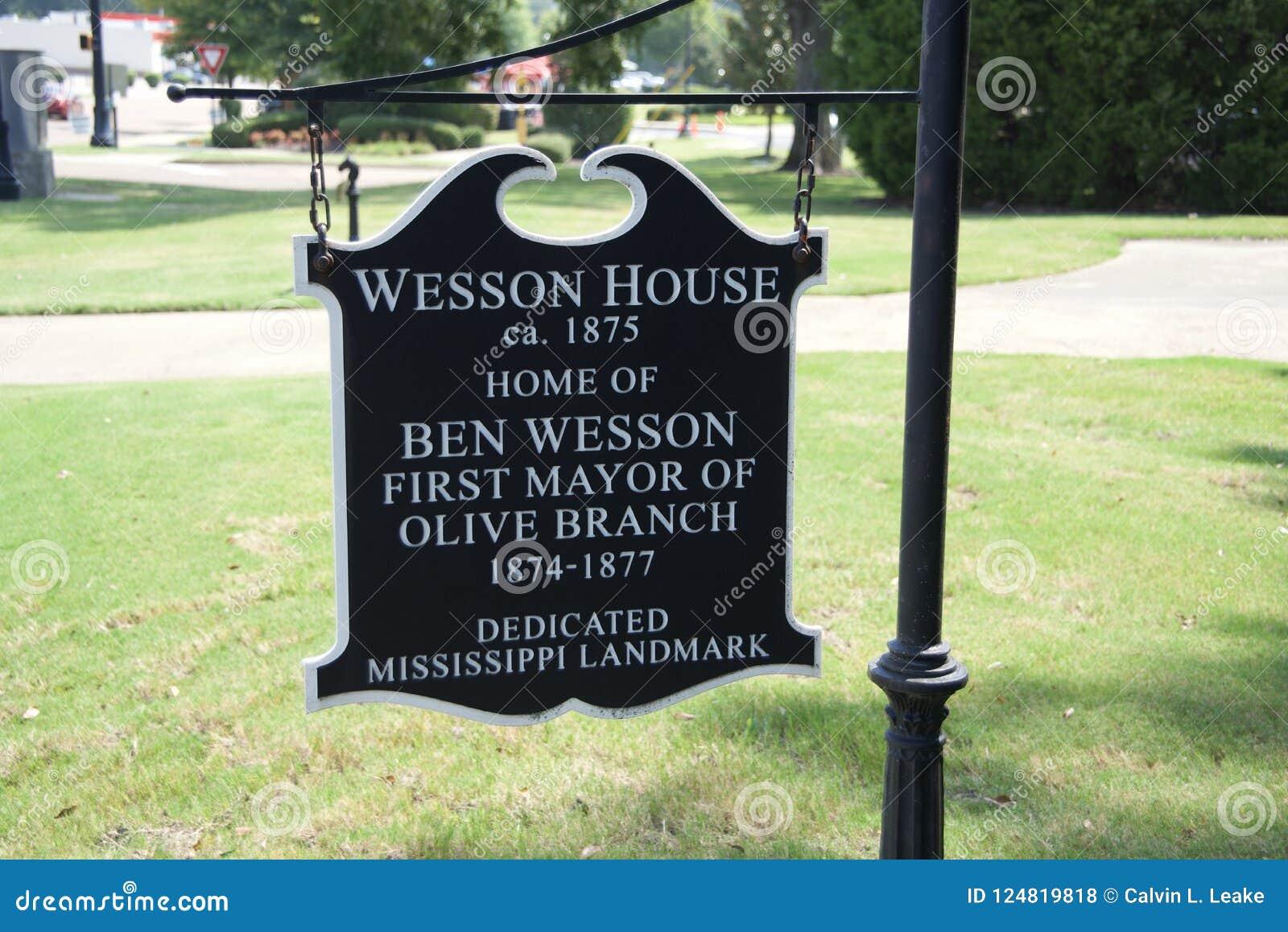 Wesson dom Ustanawiał 1875 gałązkę oliwną, Mississippi