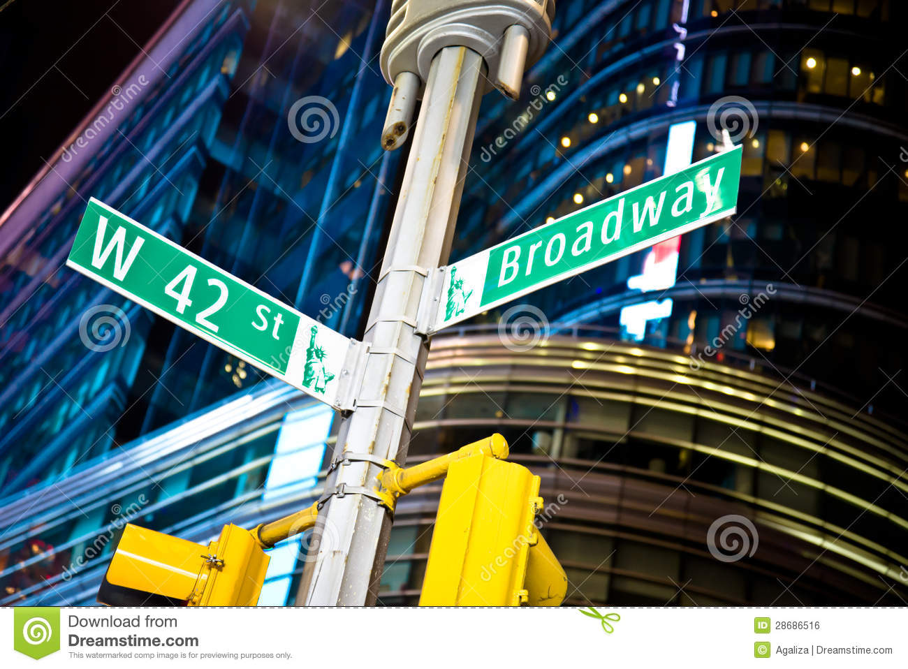 West 42nd Street And Broadway Stock Photo - Image: 28686516